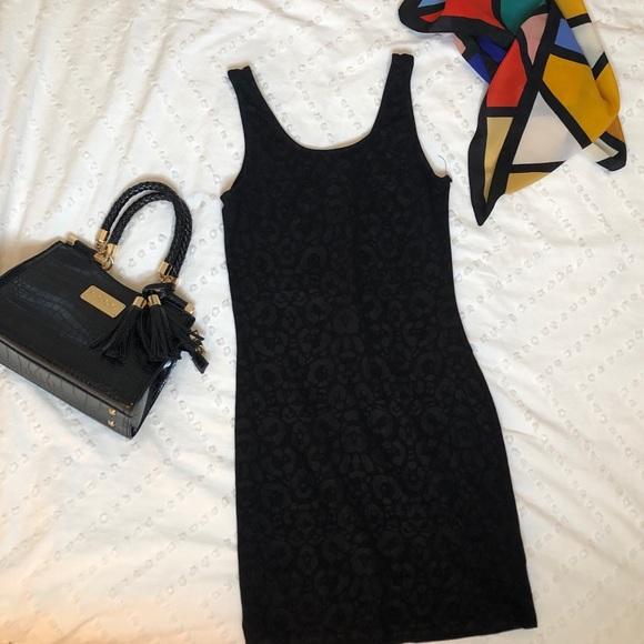 H&M Black Leopard Bodycon Dress